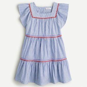 Crewcuts Girl's Ruffle Trim Rickrack Striped Dress